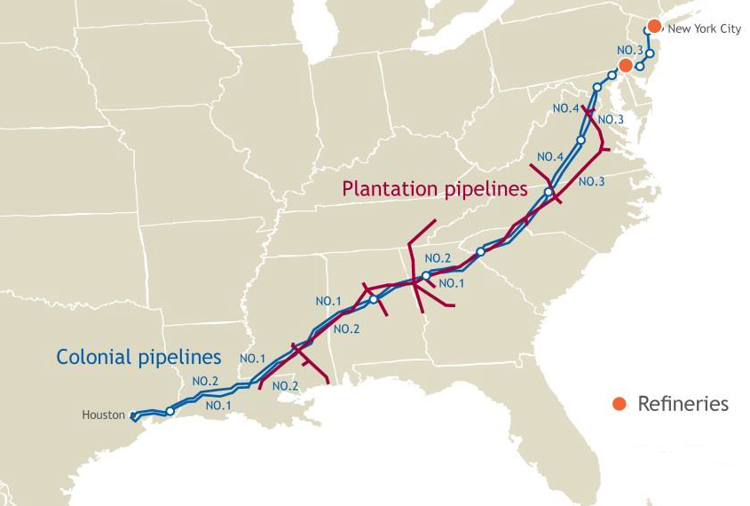 Oil Pipelines In Virginia - Gasoline-pipeline-map-us