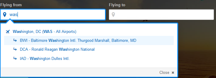 Travelers Can Use The WAS Code To Search For Flights From All Three Commercial Airports In