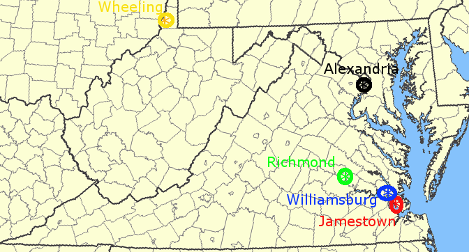 The Capital Cities Of Virginia - Jamestown on us map