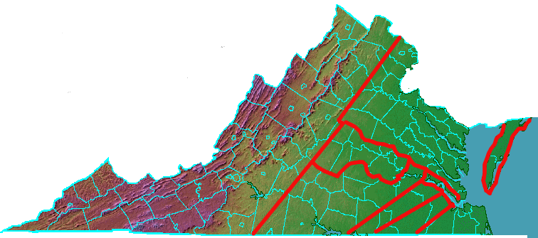boundaries of the first eight counties in Virginia, extending west of the Fall Line into the Piedmont