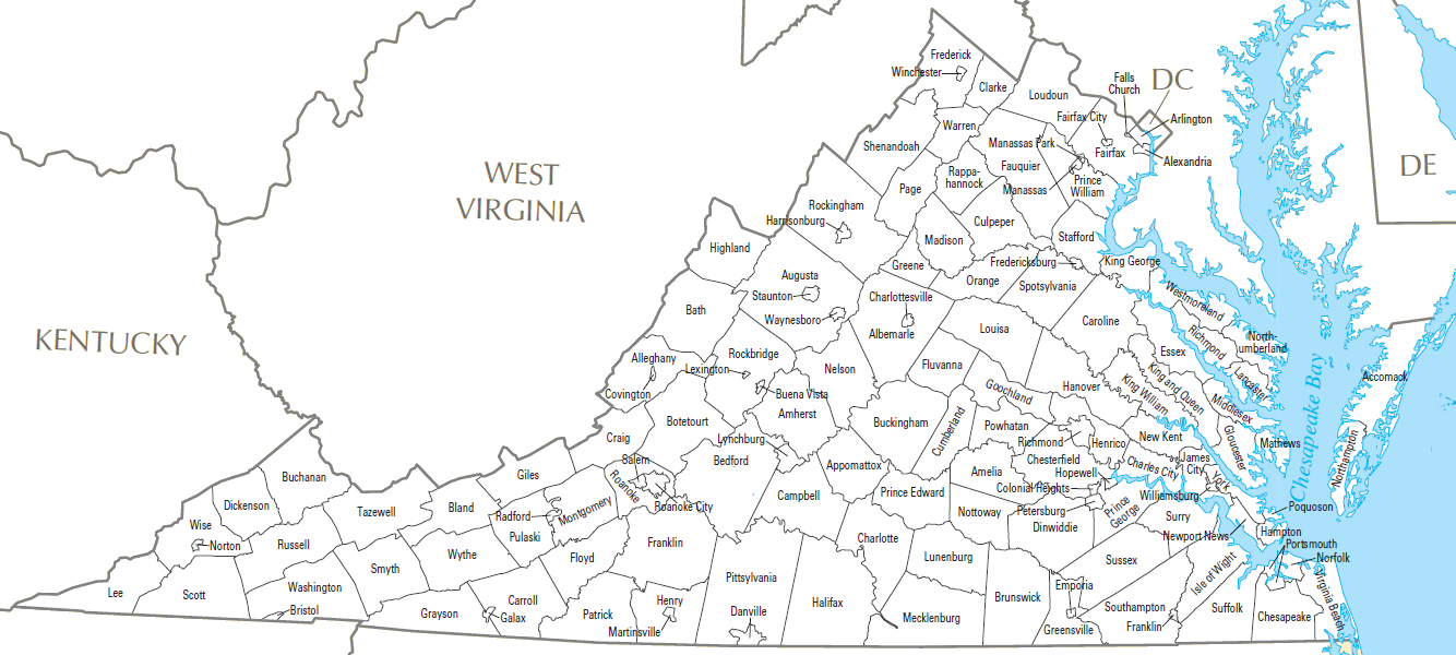 Counties Geography Of Virginia - Wv map with cities and counties