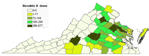counties where biosolids were applied in 2007