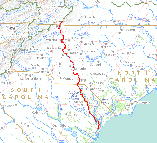 a raindrop falling into the headwaters of the ararat river in virginia will flow 376 miles