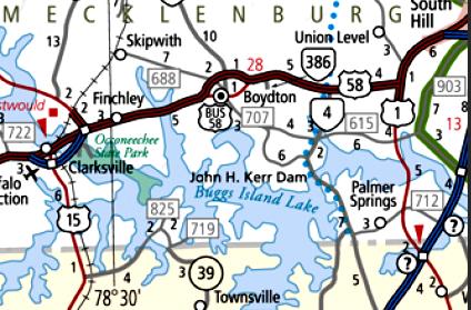 Buggs Island Lake Va Map