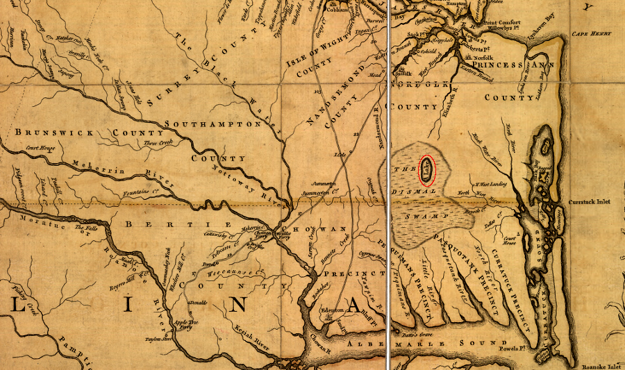 The 1755 Fry Jefferson Map Of Virginia Shows Lake Drummond In The Middle Of