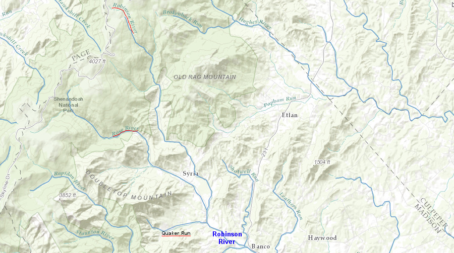 both the Rose River and Quaker Run are tributaries of the Robinson River