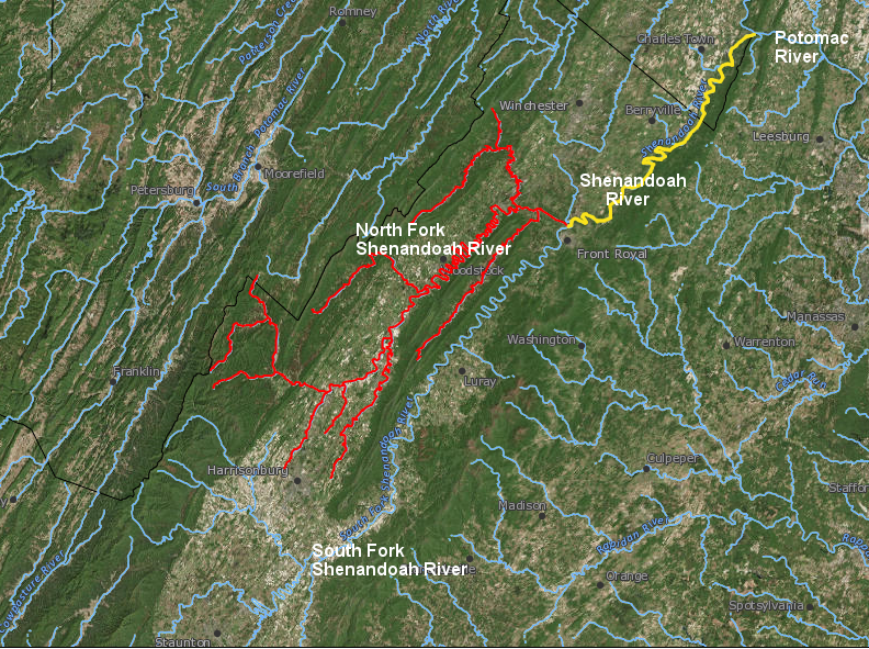 raindrops that fall in the watershed of the South Fork of the Shenandoah River will end up flowing down the main stem of the Shenandoah River between Front Royal and Harpers Ferry