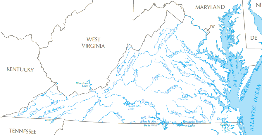 Rivers And Watersheds Of Virginia - Texas rivers and lakes map